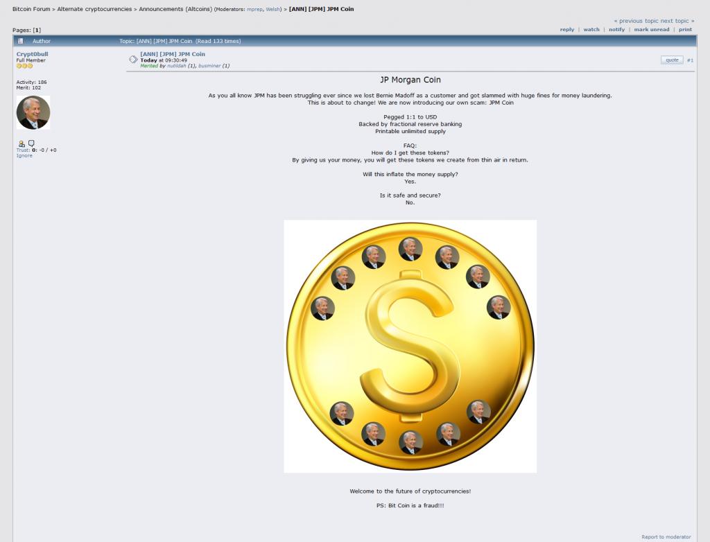 JPM coin topic on Bitcointalk