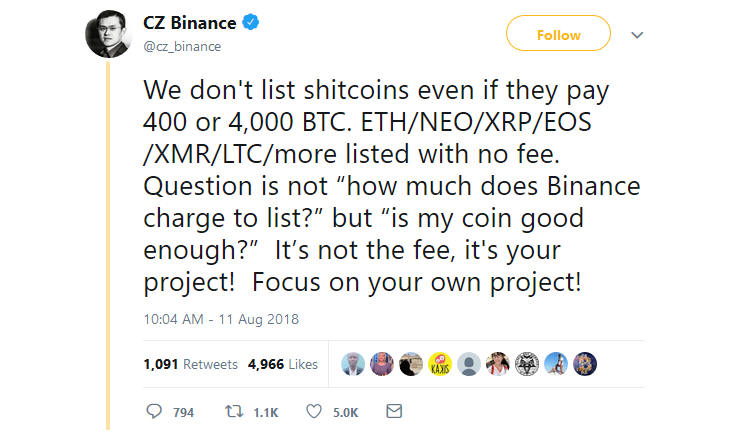 Binance CEO comments on free cryptocurrency exchange listing criteria