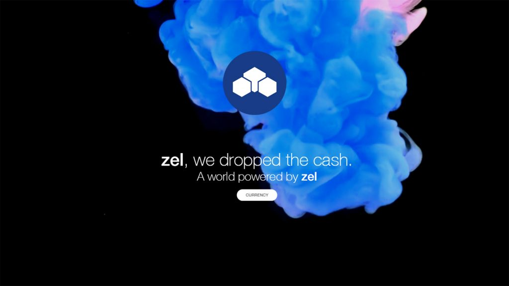 Zel logo behind blue smoke on black background