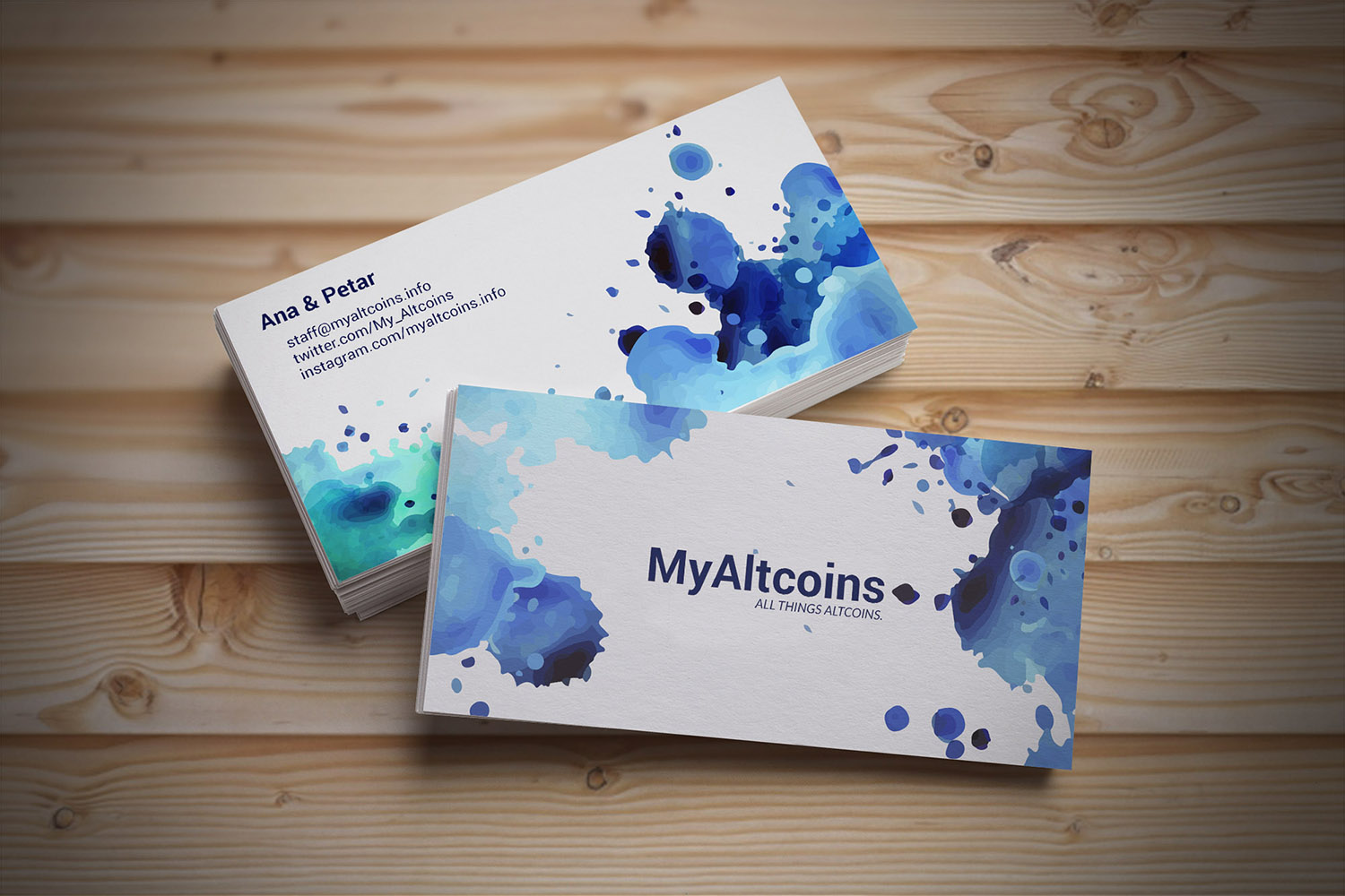 MyAltcoins business card on a wooden background