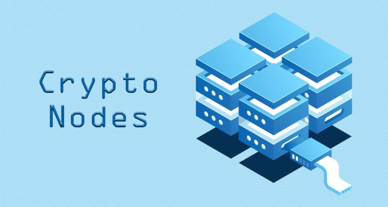 Hosting crypto nodes illustration on a blue texture background
